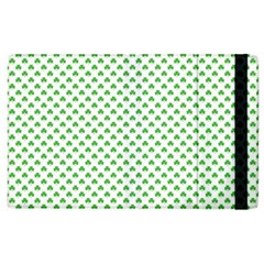 Green Heart Shaped Clover On White St  Patrick s Day Apple Ipad 3/4 Flip Case by PodArtist