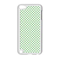 Green Heart Shaped Clover On White St  Patrick s Day Apple Ipod Touch 5 Case (white) by PodArtist