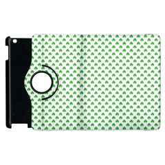Green Heart Shaped Clover On White St  Patrick s Day Apple Ipad 3/4 Flip 360 Case by PodArtist