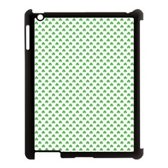 Green Heart Shaped Clover On White St  Patrick s Day Apple Ipad 3/4 Case (black) by PodArtist