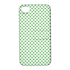 Green Heart Shaped Clover On White St  Patrick s Day Apple Iphone 4/4s Hardshell Case With Stand by PodArtist