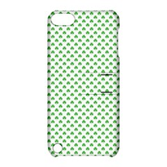 Green Heart Shaped Clover On White St  Patrick s Day Apple Ipod Touch 5 Hardshell Case With Stand by PodArtist