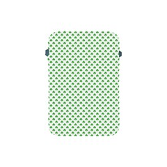 Green Heart Shaped Clover On White St  Patrick s Day Apple Ipad Mini Protective Soft Cases by PodArtist