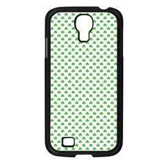 Green Heart Shaped Clover On White St  Patrick s Day Samsung Galaxy S4 I9500/ I9505 Case (black) by PodArtist