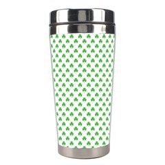 Green Heart Shaped Clover On White St  Patrick s Day Stainless Steel Travel Tumblers by PodArtist