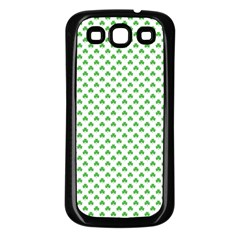 Green Heart Shaped Clover On White St  Patrick s Day Samsung Galaxy S3 Back Case (black) by PodArtist