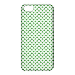 Green Heart Shaped Clover On White St  Patrick s Day Apple Iphone 5c Hardshell Case by PodArtist