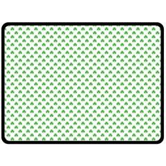 Green Heart Shaped Clover On White St  Patrick s Day Double Sided Fleece Blanket (large)  by PodArtist
