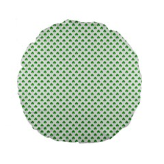 Green Heart Shaped Clover On White St  Patrick s Day Standard 15  Premium Flano Round Cushions by PodArtist
