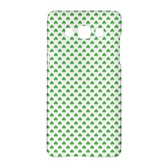 Green Heart Shaped Clover On White St  Patrick s Day Samsung Galaxy A5 Hardshell Case  by PodArtist