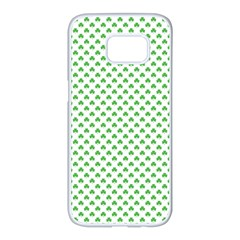 Green Heart Shaped Clover On White St  Patrick s Day Samsung Galaxy S7 Edge White Seamless Case by PodArtist