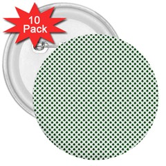 Shamrock 2 Tone Green On White St Patrick's Day Clover 3  Buttons (10 Pack)  by PodArtist