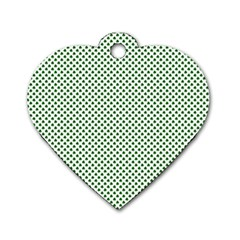 Shamrock 2 Tone Green On White St Patrick's Day Clover Dog Tag Heart (two Sides) by PodArtist