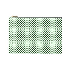 Shamrock 2 Tone Green On White St Patrick's Day Clover Cosmetic Bag (large)  by PodArtist