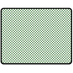 Shamrock 2 Tone Green On White St Patrick's Day Clover Fleece Blanket (medium)  by PodArtist