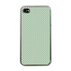 Shamrock 2 Tone Green On White St Patrick's Day Clover Apple Iphone 4 Case (clear) by PodArtist
