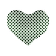Shamrock 2 Tone Green On White St Patrick's Day Clover Standard 16  Premium Heart Shape Cushions by PodArtist