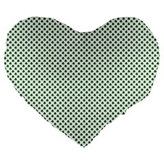 Shamrock 2 Tone Green On White St Patrick's Day Clover Large 19  Premium Flano Heart Shape Cushions by PodArtist