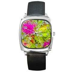 Colored Plants Photo Square Metal Watch by dflcprints