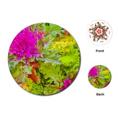 Colored Plants Photo Playing Cards (round)  by dflcprints