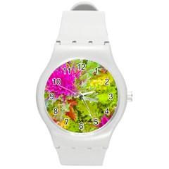 Colored Plants Photo Round Plastic Sport Watch (m) by dflcprints