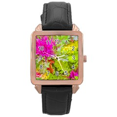 Colored Plants Photo Rose Gold Leather Watch  by dflcprints