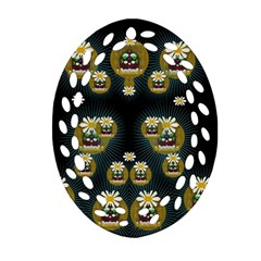 Bats In Caves In Spring Time Oval Filigree Ornament (two Sides) by pepitasart