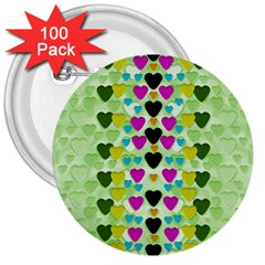 Summer Time In Lovely Hearts 3  Buttons (100 Pack)  by pepitasart