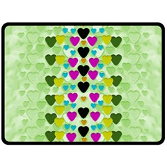 Summer Time In Lovely Hearts Fleece Blanket (large)  by pepitasart