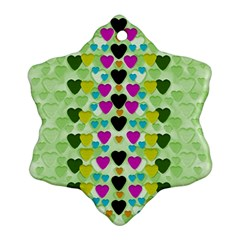 Summer Time In Lovely Hearts Ornament (snowflake) by pepitasart