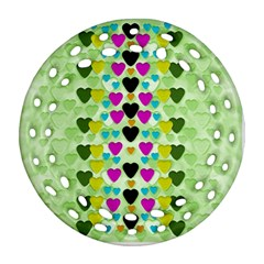 Summer Time In Lovely Hearts Round Filigree Ornament (two Sides) by pepitasart