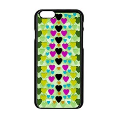 Summer Time In Lovely Hearts Apple Iphone 6/6s Black Enamel Case by pepitasart