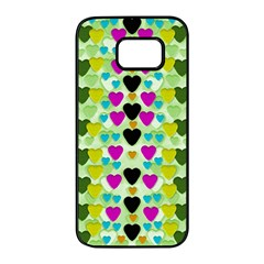 Summer Time In Lovely Hearts Samsung Galaxy S7 Edge Black Seamless Case by pepitasart
