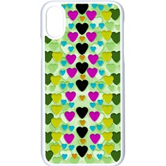 Summer Time In Lovely Hearts Apple Iphone X Seamless Case (white) by pepitasart