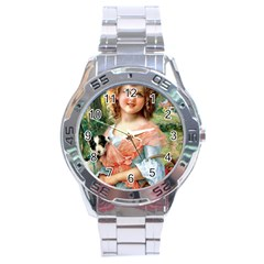 Girl With Dog Stainless Steel Analogue Watch by vintage2030