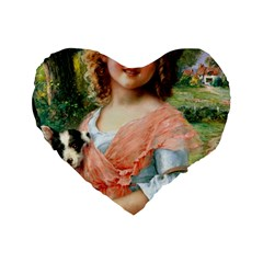 Girl With Dog Standard 16  Premium Heart Shape Cushions by vintage2030