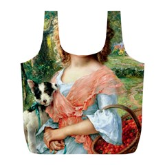 Girl With Dog Full Print Recycle Bags (l)  by vintage2030