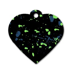 Dark Splatter Abstract Dog Tag Heart (one Side) by dflcprints