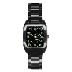 Dark Splatter Abstract Stainless Steel Barrel Watch by dflcprints