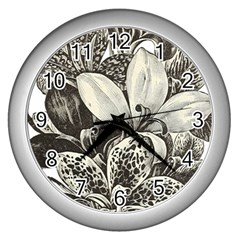Flowers 1776483 1920 Wall Clocks (silver)  by vintage2030