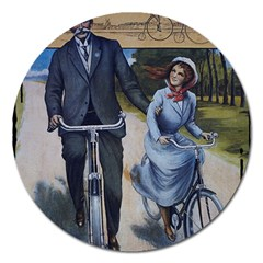 Couple On Bicycle Magnet 5  (round) by vintage2030