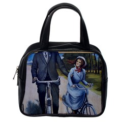 Couple On Bicycle Classic Handbags (one Side) by vintage2030