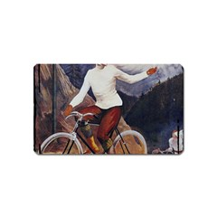 Woman On Bicycle Magnet (name Card) by vintage2030