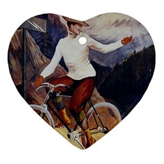 Woman On Bicycle Heart Ornament (two Sides) by vintage2030