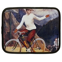 Woman On Bicycle Netbook Case (xl)  by vintage2030