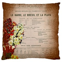 Letter Floral Large Flano Cushion Case (two Sides) by vintage2030