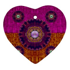 Viva Summer Time In Fauna Heart Ornament (two Sides) by pepitasart