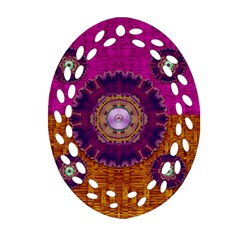 Viva Summer Time In Fauna Oval Filigree Ornament (two Sides) by pepitasart