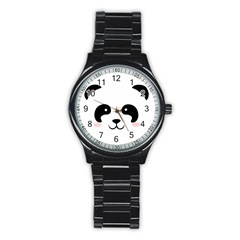 Panda  Stainless Steel Round Watch by Valentinaart