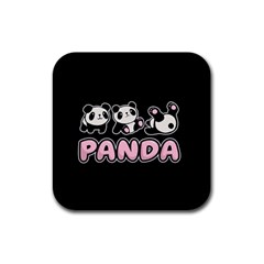 Panda  Rubber Coaster (square)  by Valentinaart